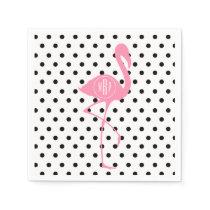 Monogrammed Pink Flamingo   Black Polka Dot Paper Napkin