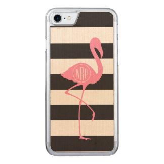 Monogrammed Pink Flamingo + Black + White Stripes Carved iPhone 8/7 Case
