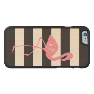 Monogrammed Pink Flamingo + Black + White Stripes Carved Maple iPhone 6 Slim Case