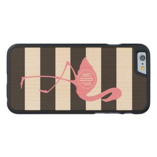 Monogrammed Pink Flamingo + Black + White Stripes Carved® Maple iPhone 6 Slim Case