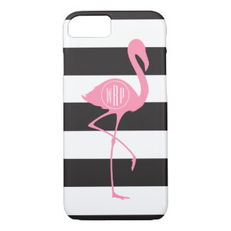 Monogrammed Pink Flamingo + Black + White Stripes iPhone 8/7 Case