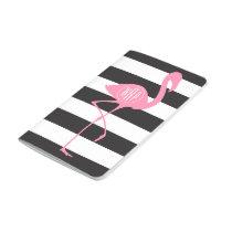 Monogrammed Pink Flamingo   Black   White Stripes Journal