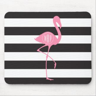 Monogrammed Pink Flamingo + Black + White Stripes Mouse Pad