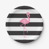 Monogrammed Pink Flamingo + Black + White Stripes Paper Plate