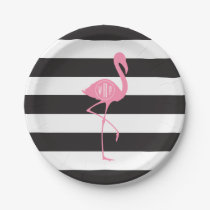 Monogrammed Pink Flamingo   Black   White Stripes Paper Plate