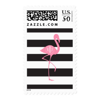 Monogrammed Pink Flamingo + Black + White Stripes Postage