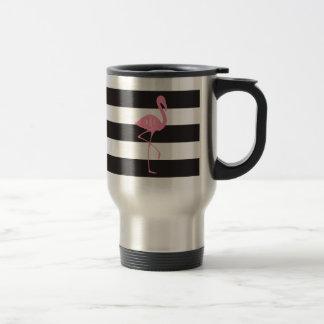 Monogrammed Pink Flamingo + Black + White Stripes Travel Mug