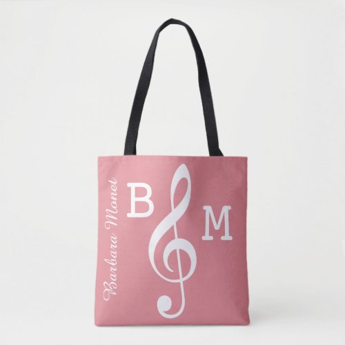 monogrammed pink G clef for her  music notes Tote Bag