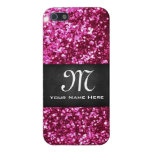 Monogrammed Pink Glitter & Black iPhone 5 Case