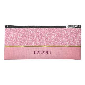 Monogrammed Pink Glitter Pencil Case