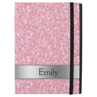 Monogrammed Pink Glitter Silver Gradient Accents