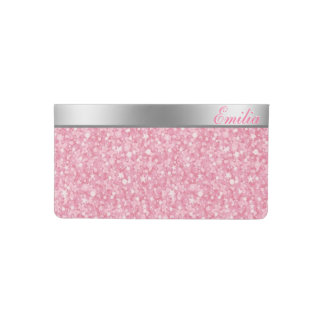 Monogrammed Pink Glitter Silver Stripe Checkbook Cover