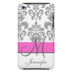 Monogrammed Pink Gray Swirls Damask Pattern Case-mate Ipod Touch Case at Zazzle