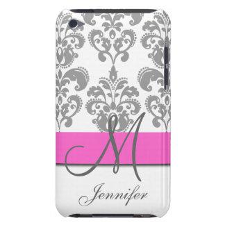 Monogrammed Pink Gray Swirls Damask Pattern Case-Mate iPod Touch Case