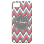 Monogrammed Pink & Grey Chevron Pattern iPhone 5 Covers