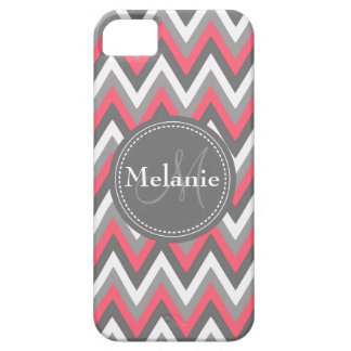 Monogrammed Pink Grey Chevron Pattern iPhone 5 Covers