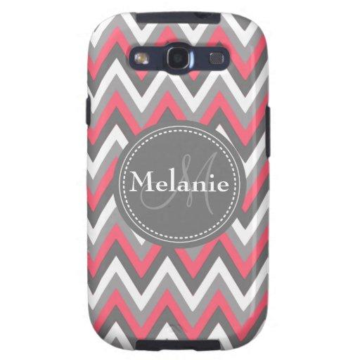 Monogrammed Pink & Grey Chevron Pattern Samsung Galaxy S3 Case