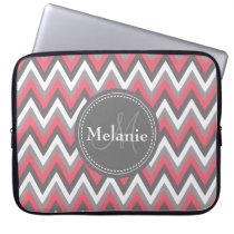 Monogrammed Pink & Grey Chevron Pattern Computer Sleeve
