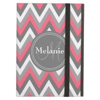 Monogrammed Pink & Grey Chevron Pattern iPad Air Covers