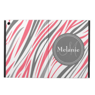 Monogrammed Pink & Grey Zebra Pattern Case For iPad Air