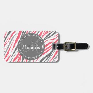 Monogrammed Pink & Grey Zebra Pattern Luggage Tag