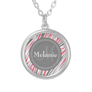 Monogrammed Pink & Grey Zebra Pattern Silver Plated Necklace
