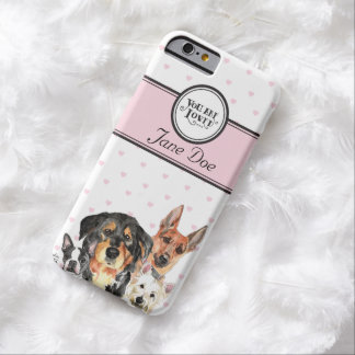 Monogrammed pink hearts and dogs iphone6 case