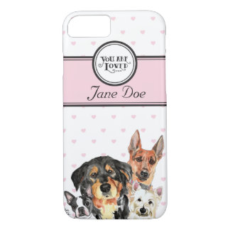 Monogrammed pink hearts and dogs iPhone 7 case