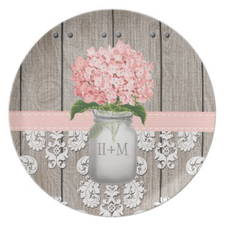 Monogrammed Pink Hydrangea Mason Jar Dinner Plate