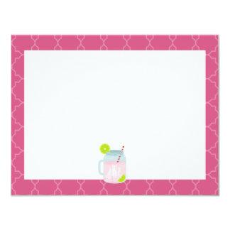 Monogrammed Pink Lemonade + Berry Quatrefoil Card