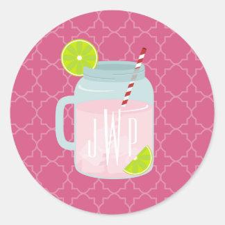 Monogrammed Pink Lemonade Berry Quatrefoil Classic Round Sticker