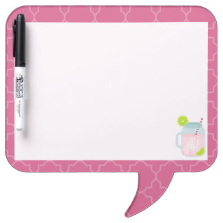 Monogrammed Pink Lemonade + Berry Quatrefoil Dry Erase Board
