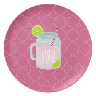Monogrammed Pink Lemonade + Berry Quatrefoil Plate