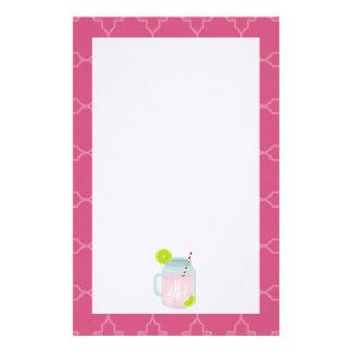 Monogrammed Pink Lemonade + Berry Quatrefoil Stationery