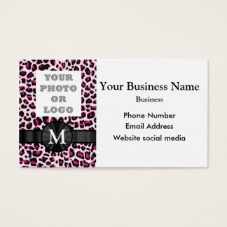 Monogrammed pink leopard print pattern and logo business card