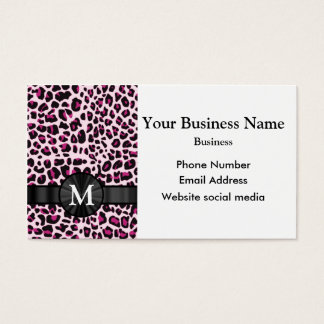 Monogrammed pink leopard print pattern business card