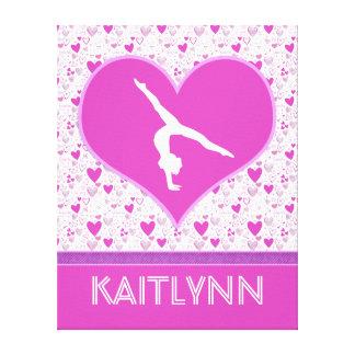 Monogrammed Pink Lots o' Hearts Gymnastics Canvas Print