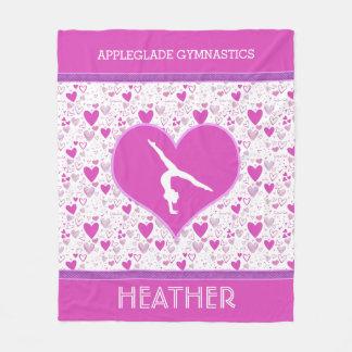 Monogrammed Pink Lots o' Hearts Gymnastics Fleece Blanket