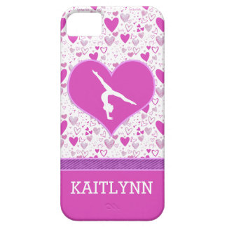 Monogrammed Pink Lots o' Hearts Gymnastics iPhone 5 Cover