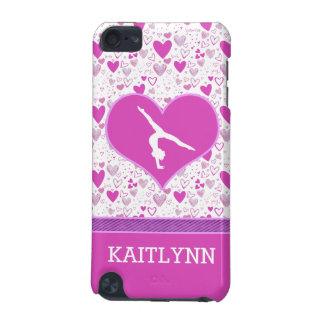 Monogrammed Pink Lots o' Hearts Gymnastics iPod Touch 5G Covers