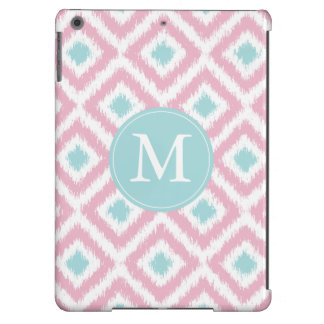Monogrammed Pink Mint Diamond Ikat Pattern Cover For iPad Air