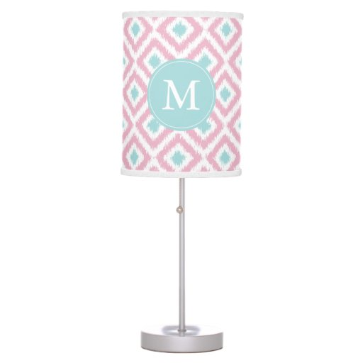Monogrammed Pink Mint Diamonds Ikat Pattern Desk Lamp