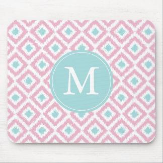 Monogrammed Pink Mint Diamonds Ikat Pattern Mouse Pad