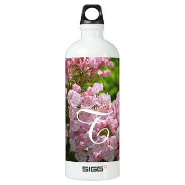 Bride Themed Monogrammed Pink Mountain Laurel Bottle