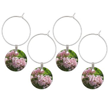 Bride Themed Monogrammed Pink Mountain Laurel Wine Charms