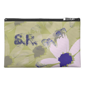 Monogrammed Pink Olive Green Daisy Travel Accessories Bag
