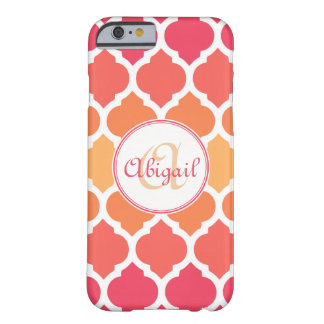 Monogrammed Pink Ombre Moroccan Lattice Pattern Barely There iPhone 6 Case