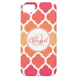 Monogrammed Pink Ombre Moroccan Lattice Pattern iPhone 5 Cover