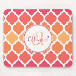 Monogrammed Pink Ombre Moroccan Lattice Pattern Mousepads