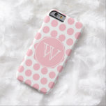 Monogrammed Pink Polka Dots Barely There iPhone 6 Case